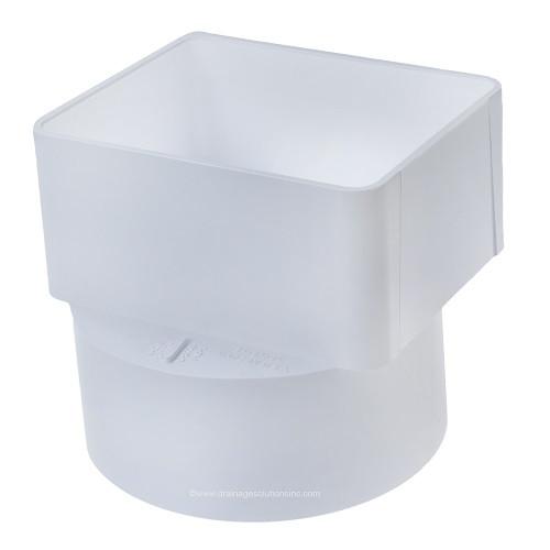 "PVC 3"" x 4"" x 4"" SDR35 Downspout Adapter Offset (DSA x Hub)"