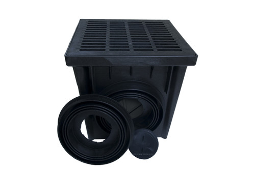"NDS 24"" Two Hole Catch Basin Kit w/ Black Grate"