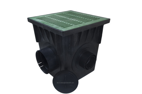 "NDS 18"" Four Hole Catch Basin Kit w/ Green Grate"