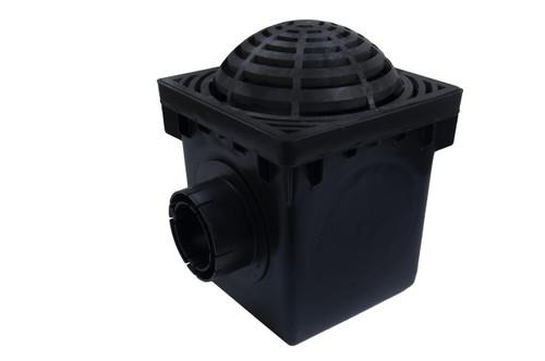 "NDS 12"" Two Hole Catch Basin Kit w/ Black Atrium Grate"