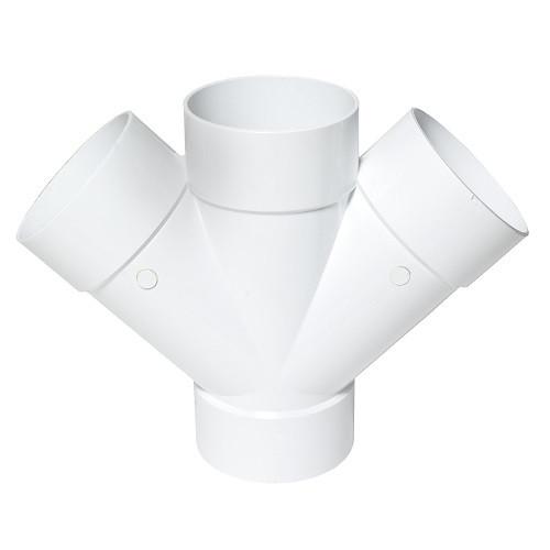 """6"""" x 6"""" x 6"""" x 6"""" PVC SDR35 Solvent Weld Double Wye (SxSxSxS)"""