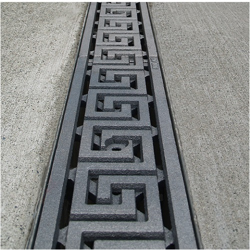 """Iron Age Raw Cast Iron Greek Key Grate 5"""" for ABT, ACO, MEA"""