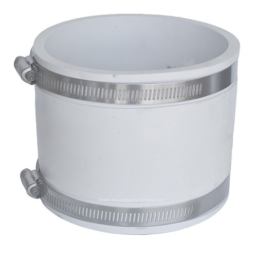 "PVC  4"" x 4"" White Flexible Coupling (CI/Plastic x CI/Plastic)"