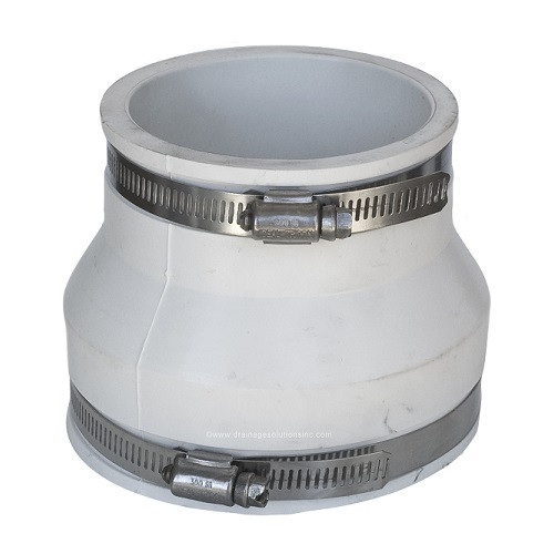 "PVC  4"" x 3"" White Flexible Coupling (CI/Plastic x CI/Plastic)"
