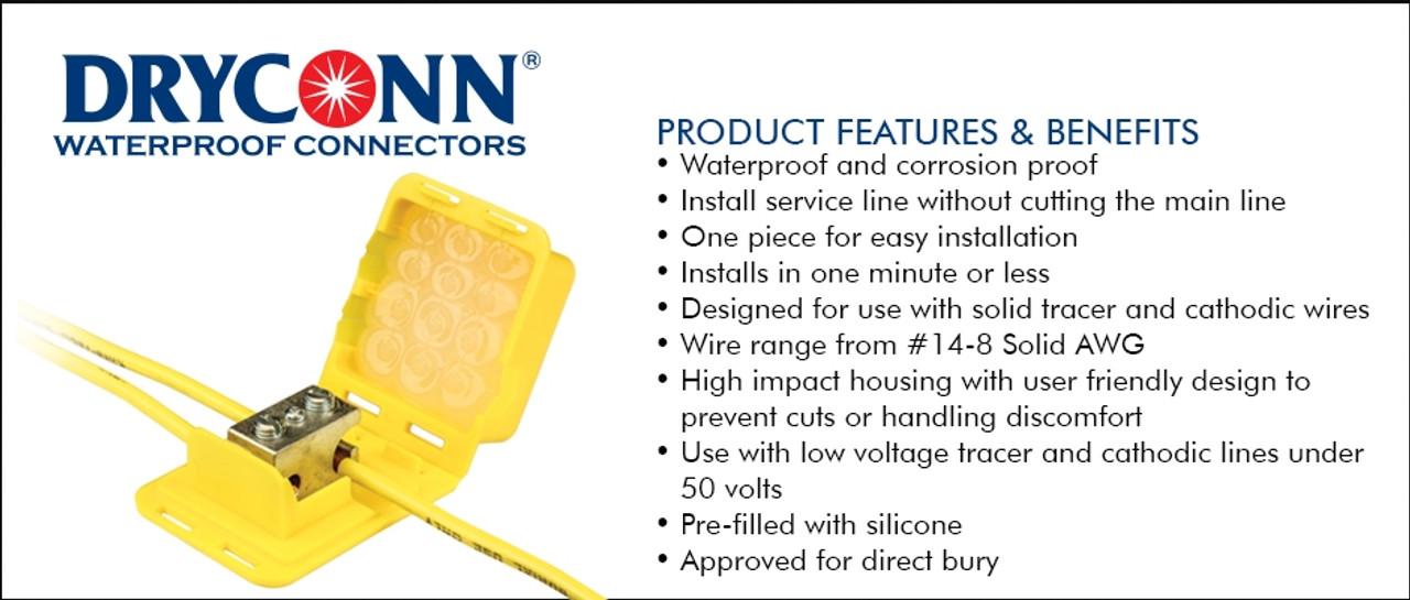 90740 - DryConn Direct Bury Lug Yellow 8ga. Bag of 5