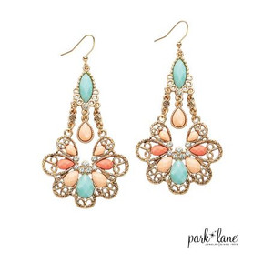 Drop Earrings with Rhinestone, Aqua, Peach & Salmon Gems in Gilded Filigree