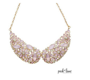 Crystal & Pink Opalescent Gem Set Necklace on Curb Link Chain
