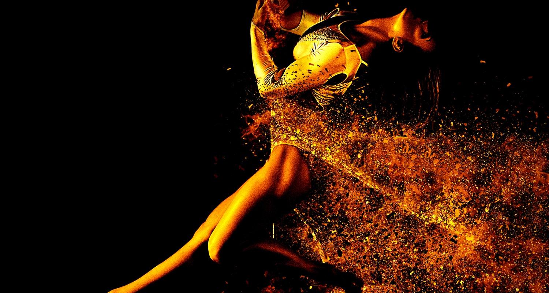 Gold Female Dance in Gold Leotard