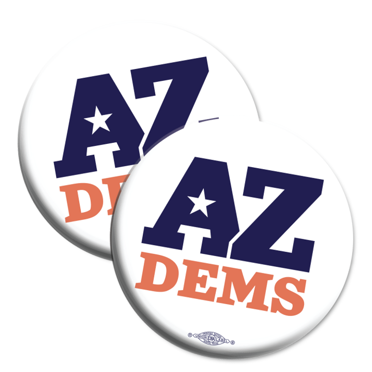 """Arizona Democratic Party Official Logo (2.25"""" Mylar Button -- Pack Of Two!)"""