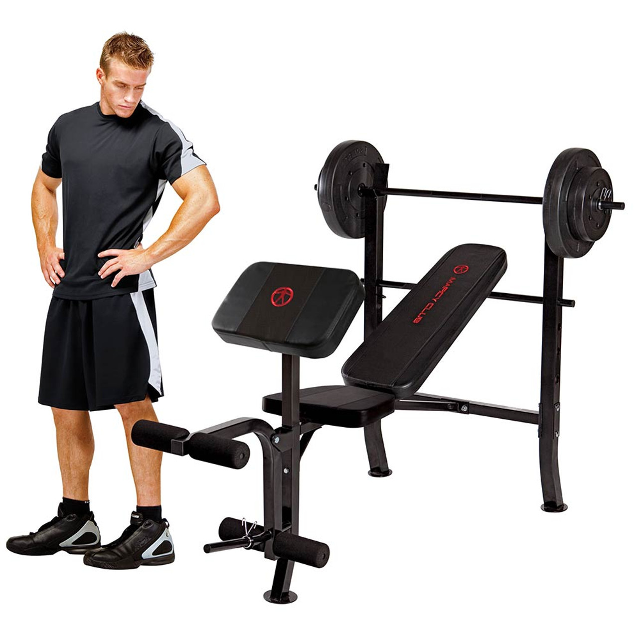 The Folding Standard Weight Bench Marcy MKB-2081 includes a preacher curl pad and leg developer for a full body workout