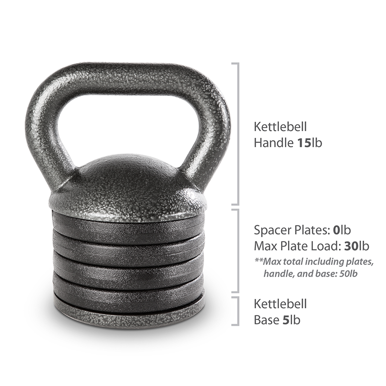 The Apex Adjustable Kettlebell includes 20 lbs of weight and spacer plates that can be replaced with weight plates