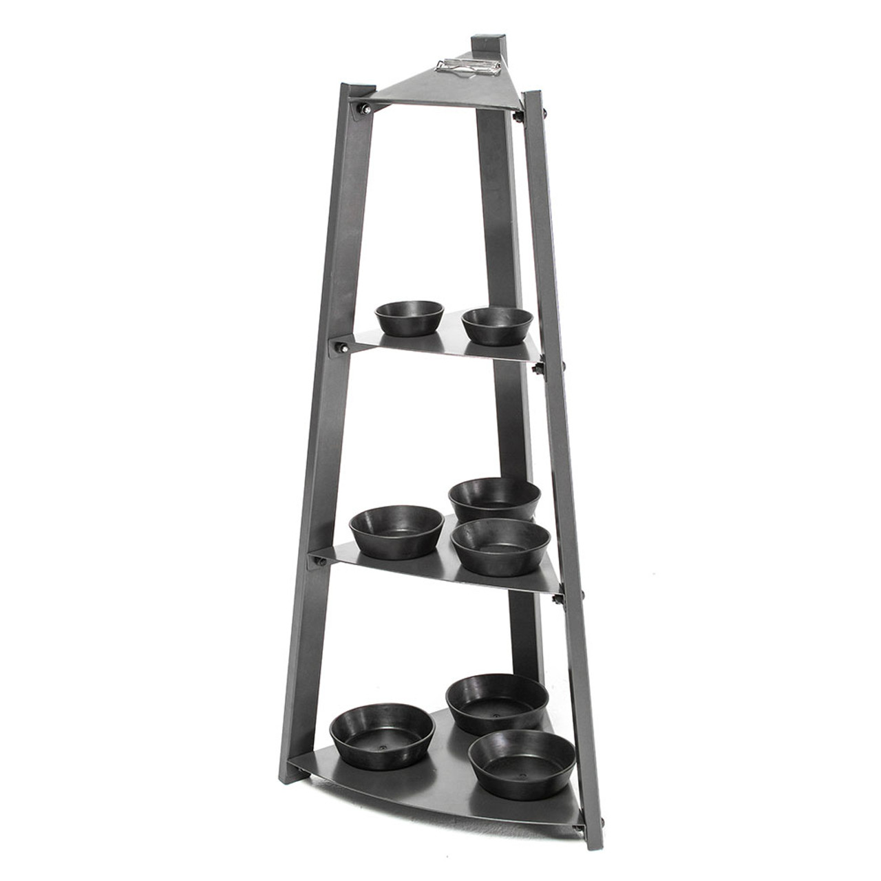 The Apex 3 Tier Kettlebell Rack includes trays to keep kettlebells from sliding