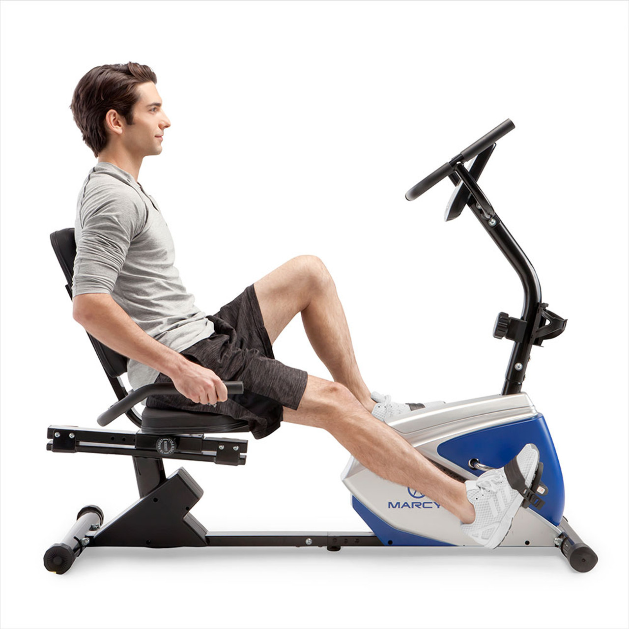 The Marcy Magnetic Recumbent Bike ME-1019R has handles at the seat for your comfort