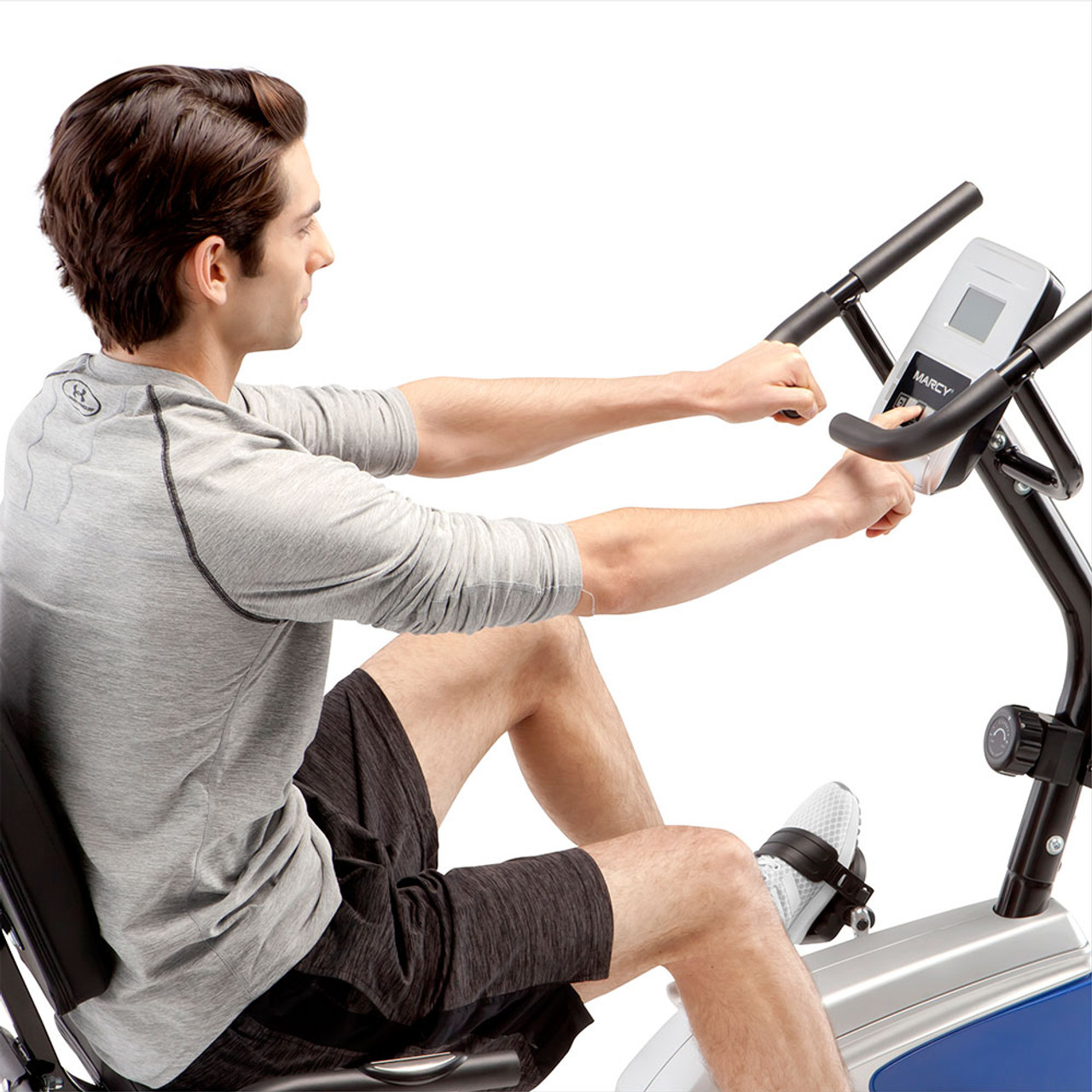 The Marcy Magnetic Recumbent Bike ME-1019R includes a monitor to track progress