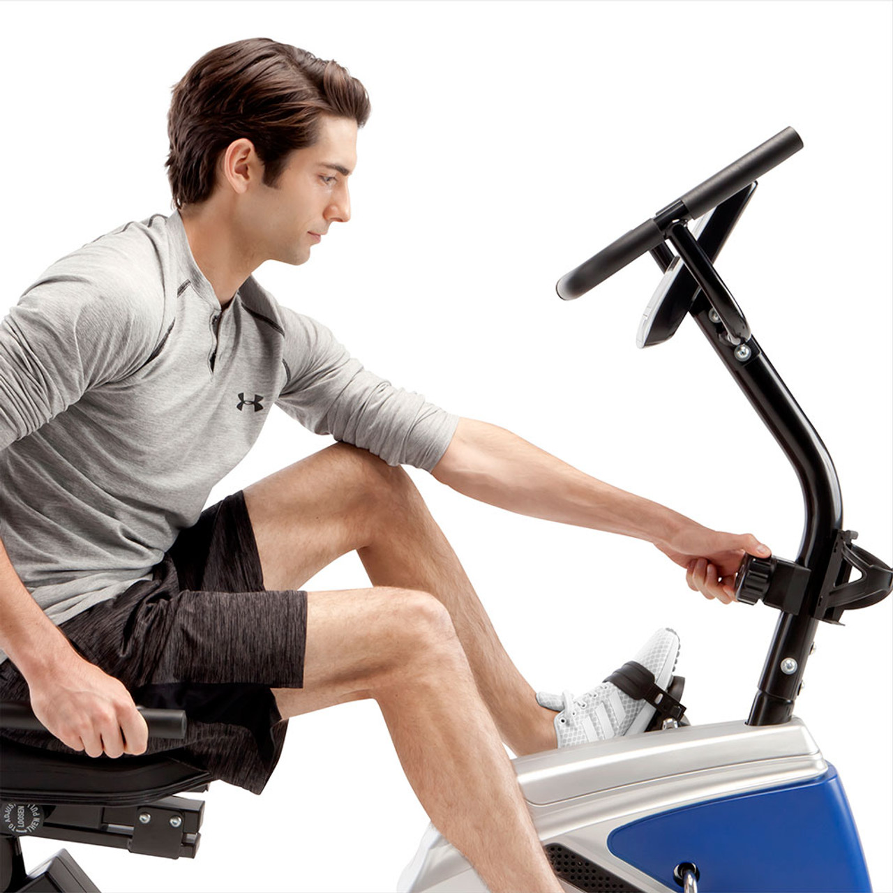 The Marcy Magnetic Recumbent Bike ME-1019R has easily adjustable resistance