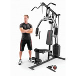 Model with the Marcy 100 lb. Stack Home Gym MKM-81030