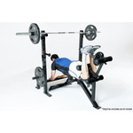The Marcy Olympic Weight Bench PM-70210 in use - leg curls