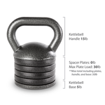 The 50 lbs. Apex Adjustable Kettle Bell comes with 20 lbs of weight and 4 spacer plates