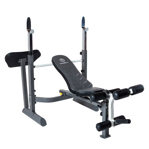 The Marcy Foldable Mid-Size Workout Bench MWB-50100 by Marcy adds variety to your workout with incline, decline, flat and Military positions