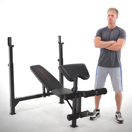Model with MarcyClub Olympic Weight Bench | MKB-733