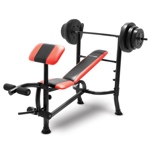 The Combo Bench with 100 lbs Weight Set CB-2982 by Competitor is a complete weight and bench set ready for home gym use