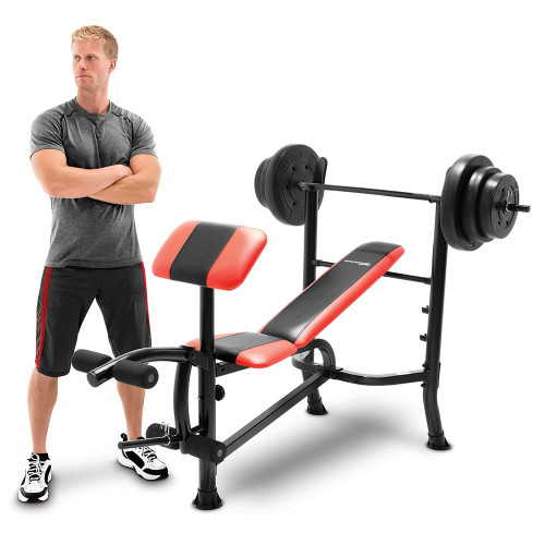 The Combo Bench with 100 lbs Weight Set CB-2982 by Competitor is brings everything to your home gym in one convenient purchase