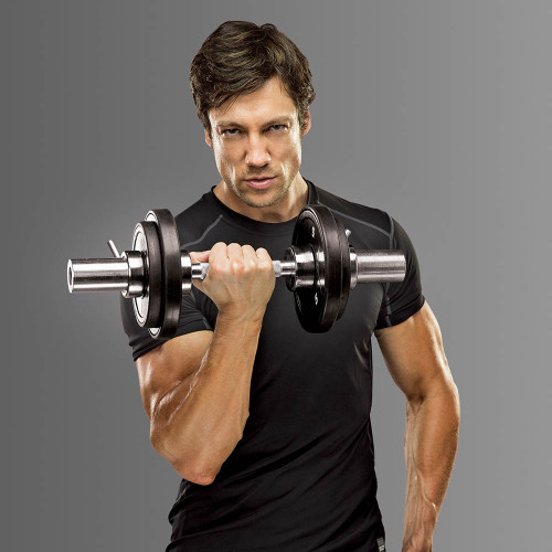 Model with the Marcy Olympic Dumbbell Handles IOBB-20