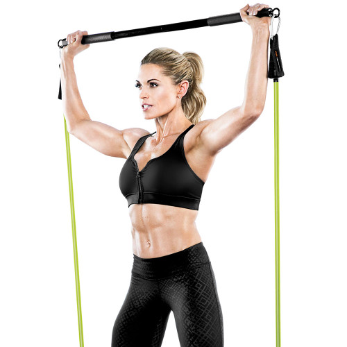 Kim Lyons using Bionic Body Training Kit w/ Exercise bar, Resistance Tube & Carabiner - BBKT-2020 - overhead press