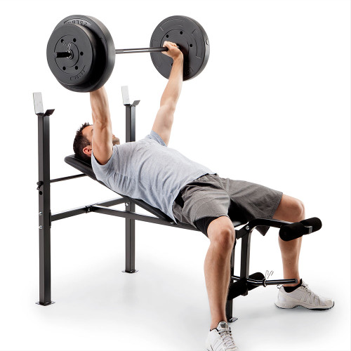 standard bench with 80lb weight set competitor CB-20111 using bench for rows