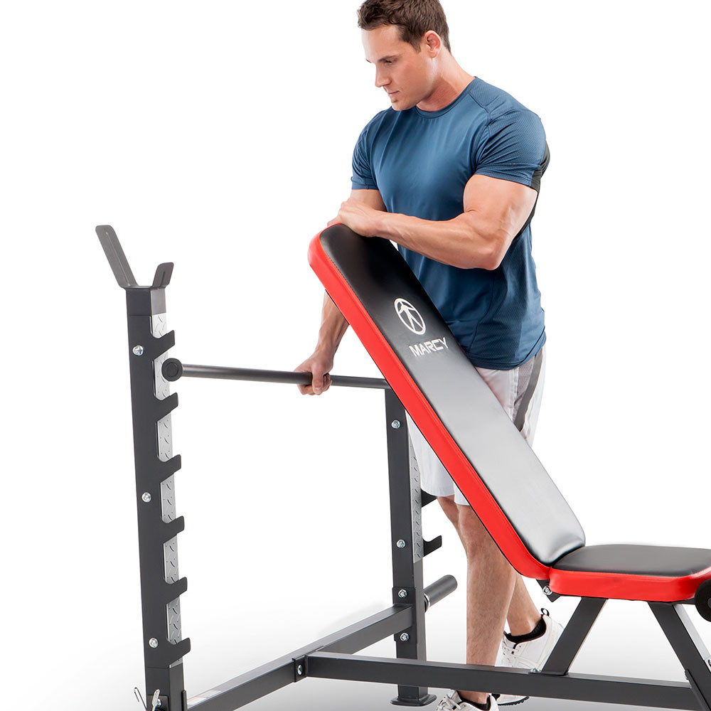 The Olympic Weight Bench MWB-5146 by Marcy has a 7-point adjustable back pad to vary your workout