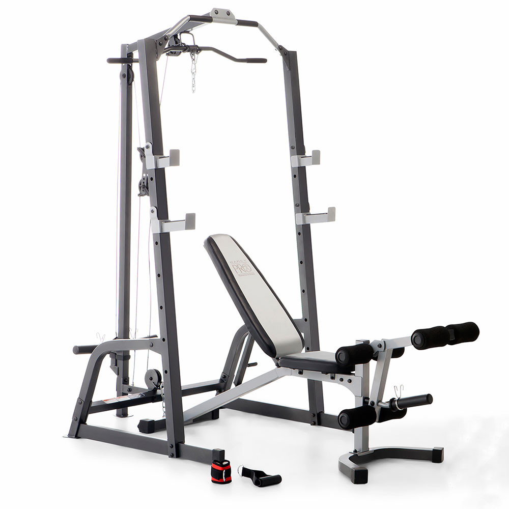 The Marcy Deluxe Cage System with bench is sturdy and built to last