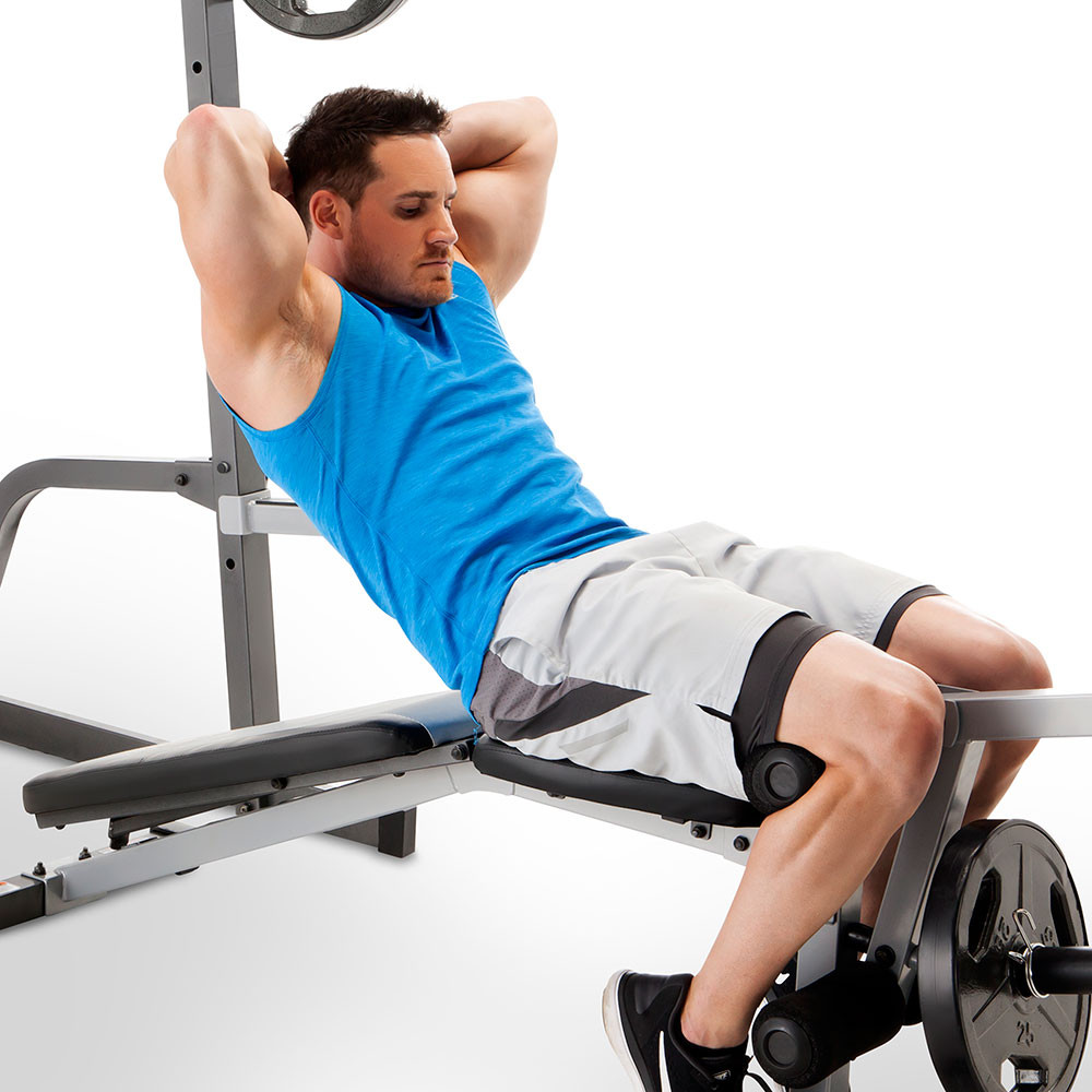The Marcy Deluxe Cage System with bench offers a countless number of exercises