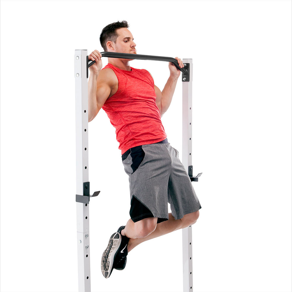 The Marcy Power Cage and Weight Bench SM-5092 includes a multi-grip pull-up bar