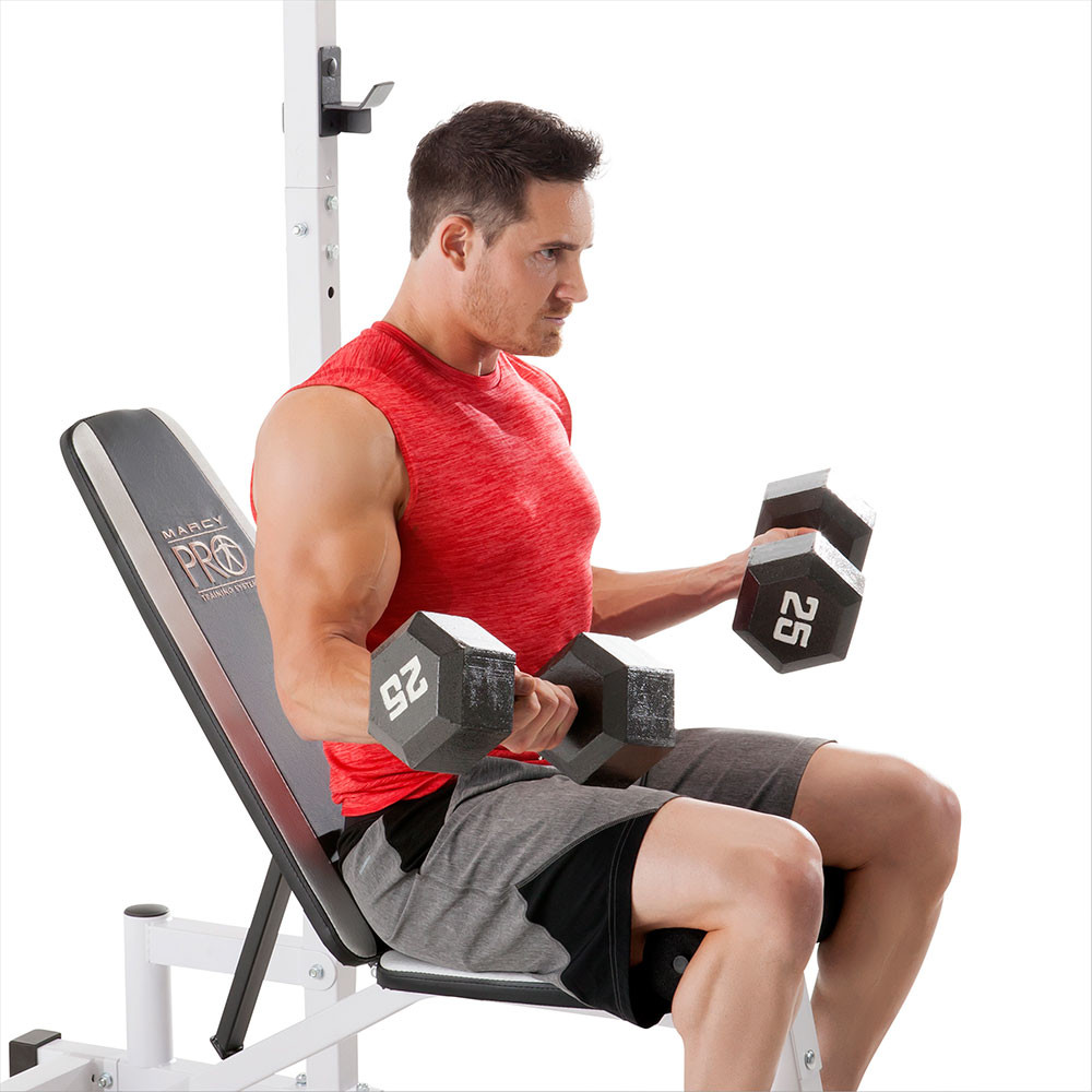 The Marcy Power Cage and Weight Bench SM-5092 has an adjustable bench to vary your workout