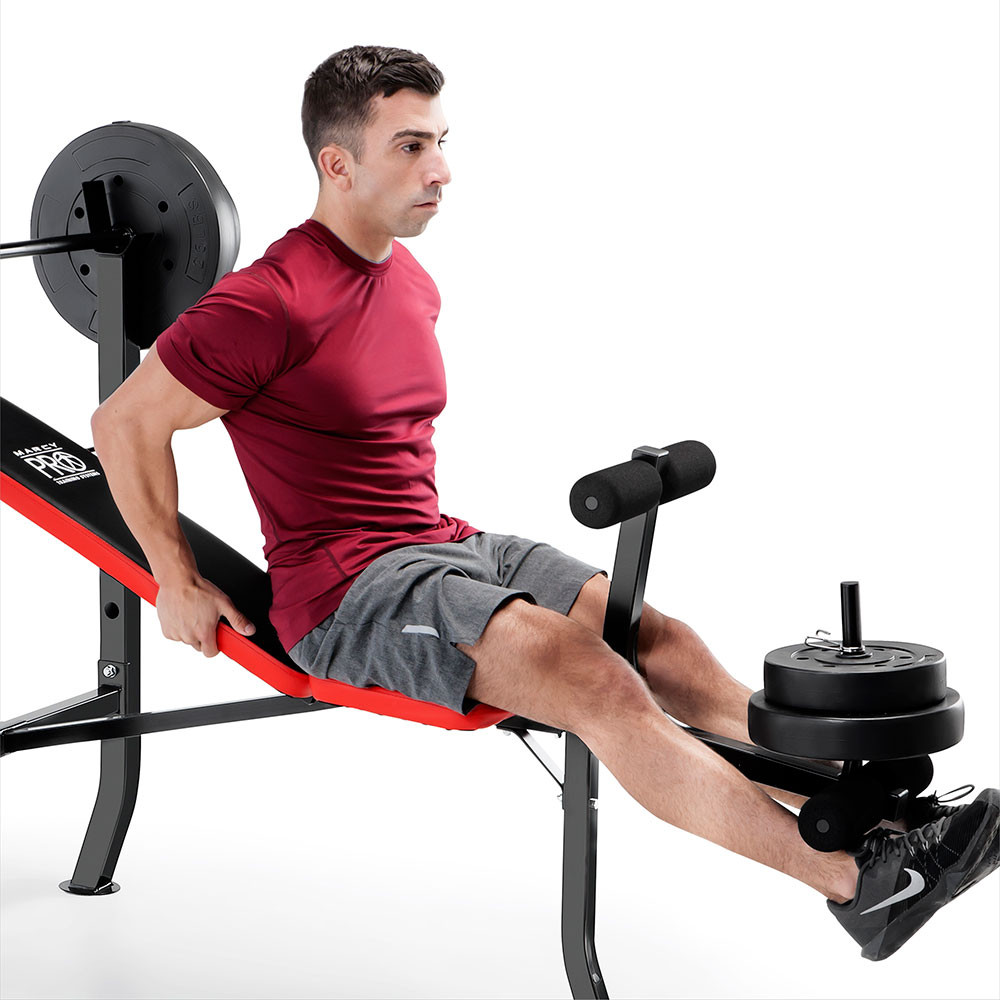 The Marcy Pro Standard Weight Bench with 100lb Weight Set PM-2084 includes a leg developer to deliver a full body workout