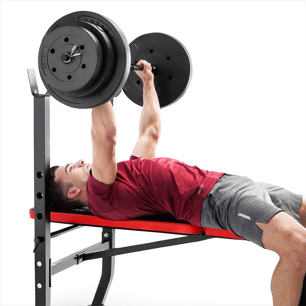 The Marcy Pro Standard Weight Bench with 100lb Weight Set PM-2084 has a comfortable back pad for your intense workouts