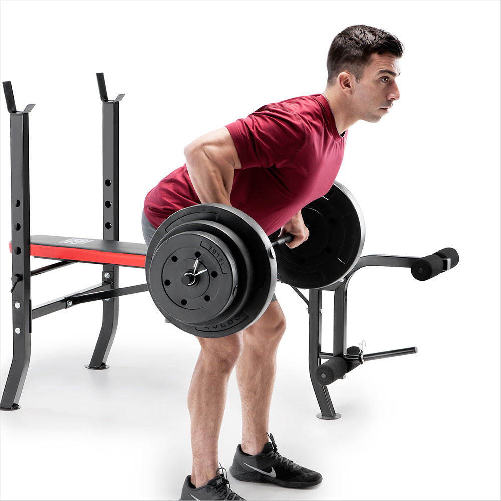 The Marcy Pro Standard Weight Bench with 100lb Weight Set PM-2084 is a perfect bench and weight set combo for beginners and experienced users