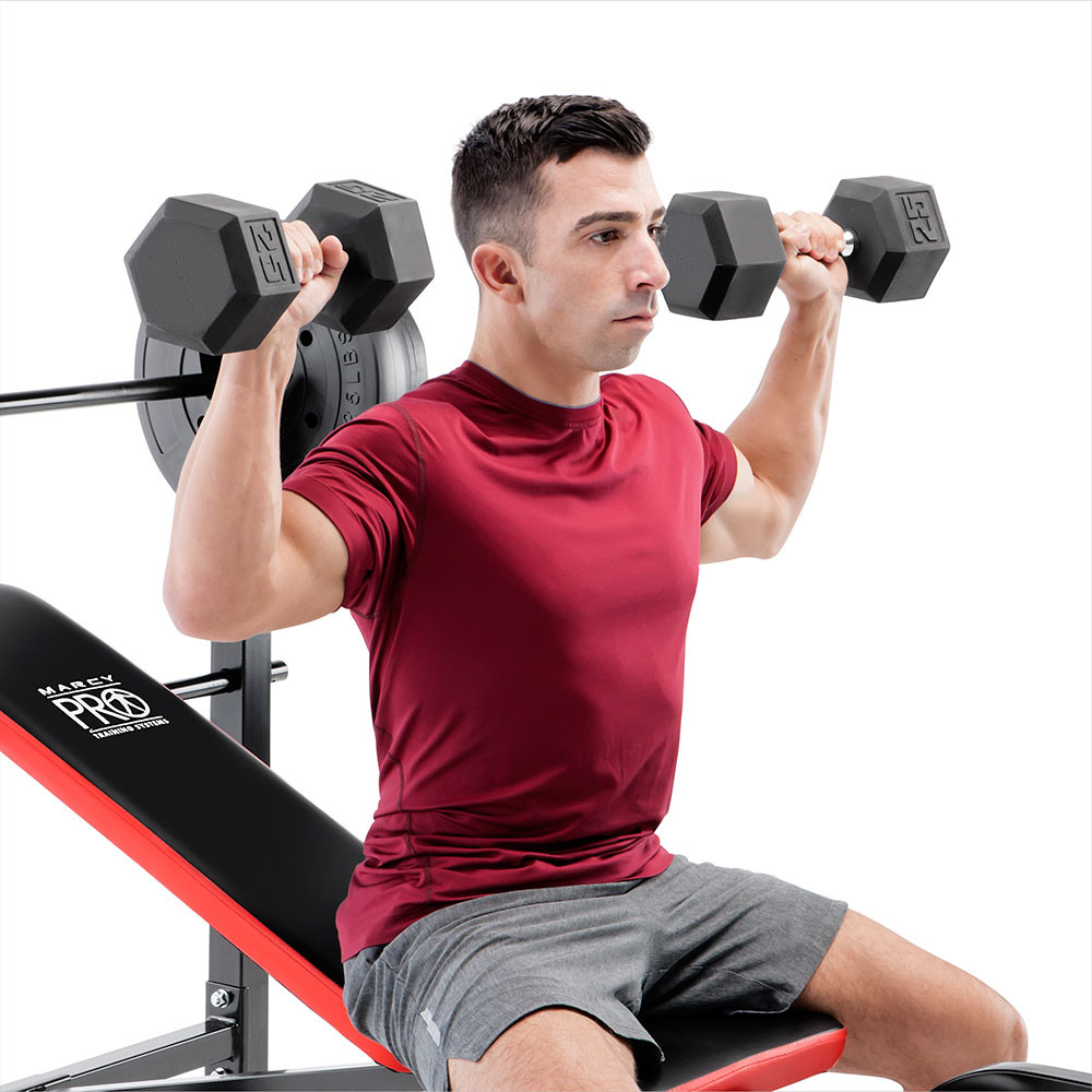 The Marcy Pro Standard Weight Bench with 100lb Weight Set PM-2084 has an adjustable back pad for incline workouts