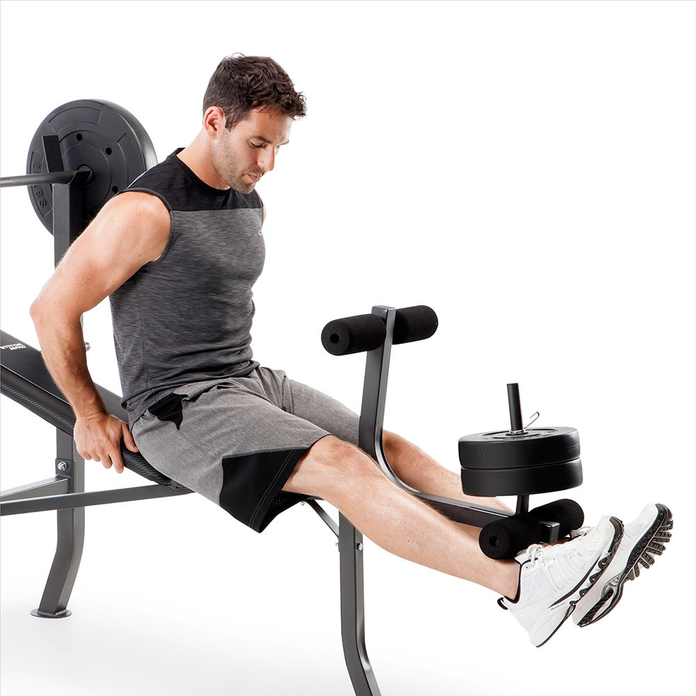 The Competitor Pro Standard Bench + 100lb weight plate set includes a leg developer for lower body workouts - don't miss leg day!