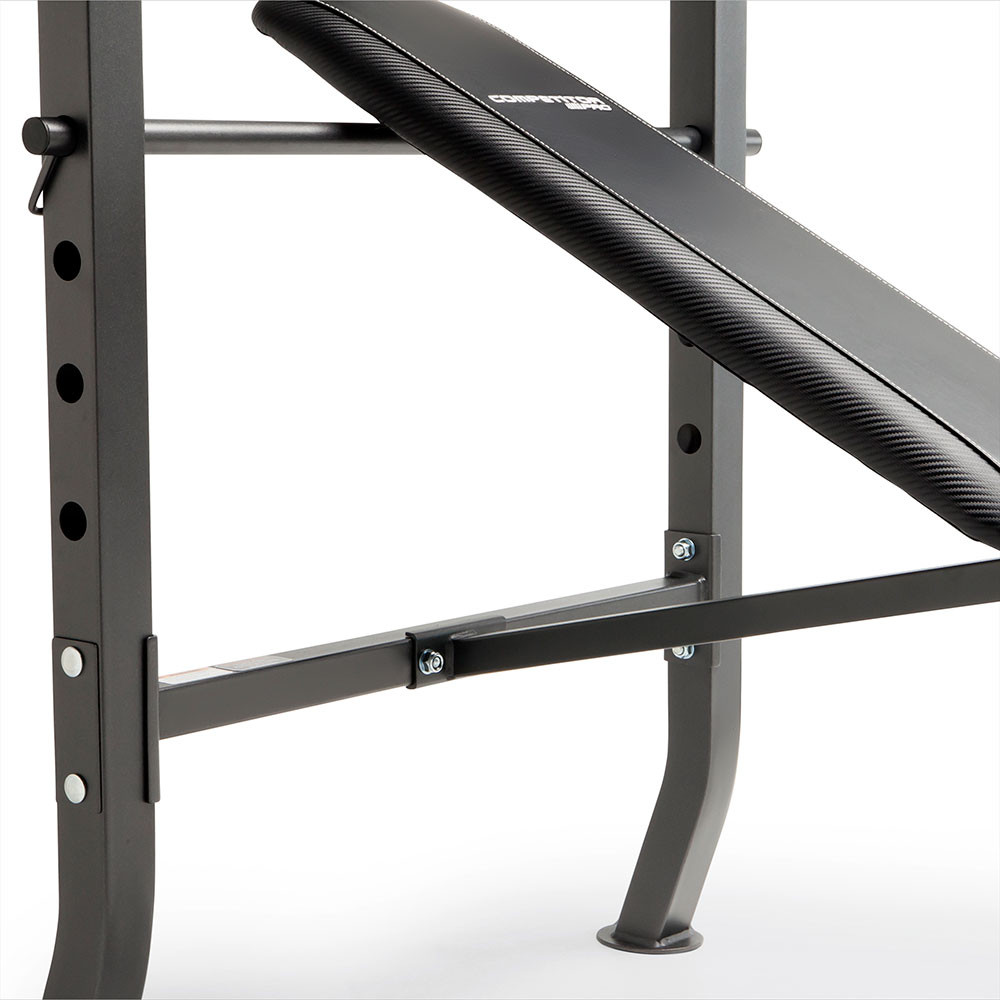 The Competitor Pro Standard Bench + 100lb weight plate set has an adjustable backpad for inclined workouts