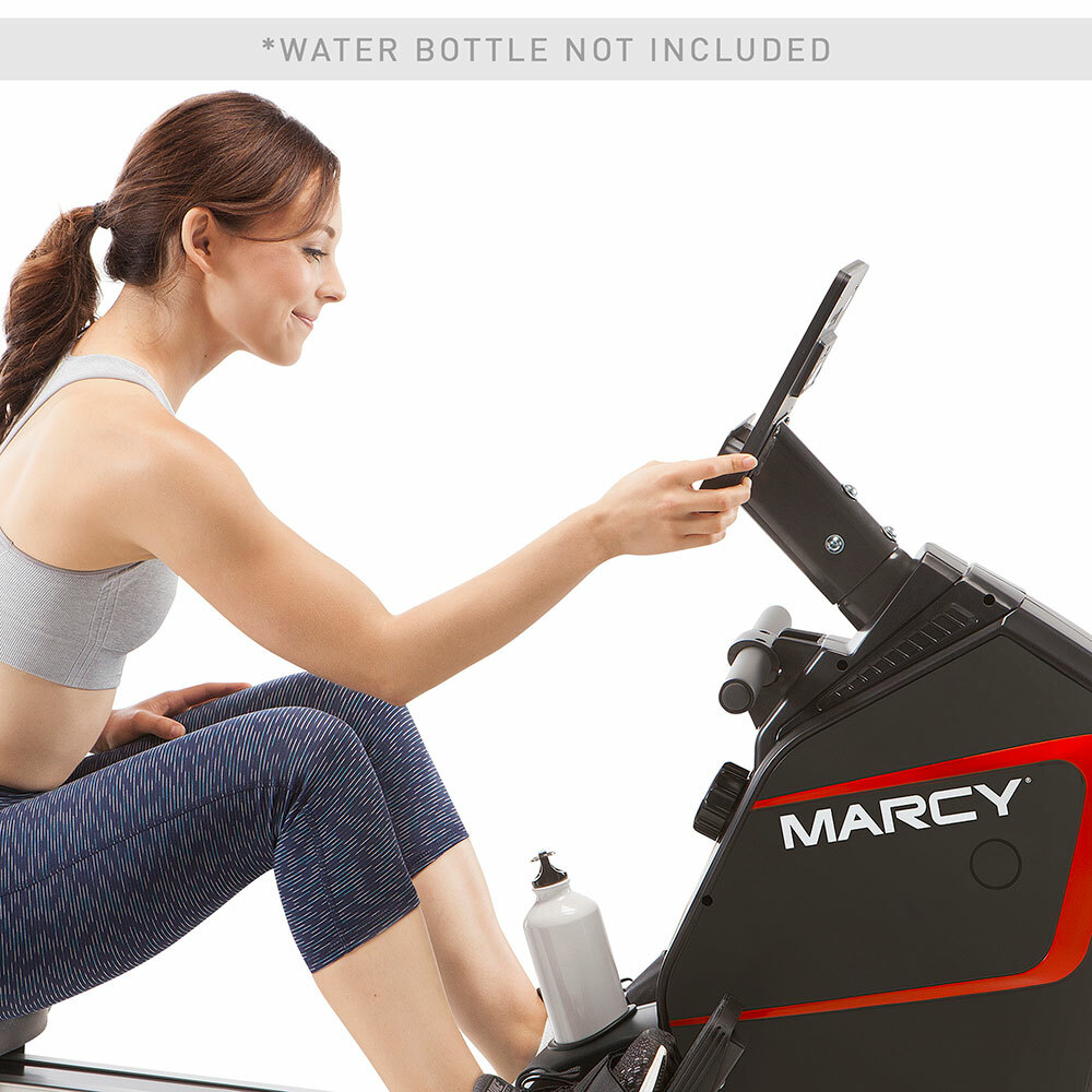 The marcy foldable regenerating rowing machine - NS-6002RE in use by model to monitor results
