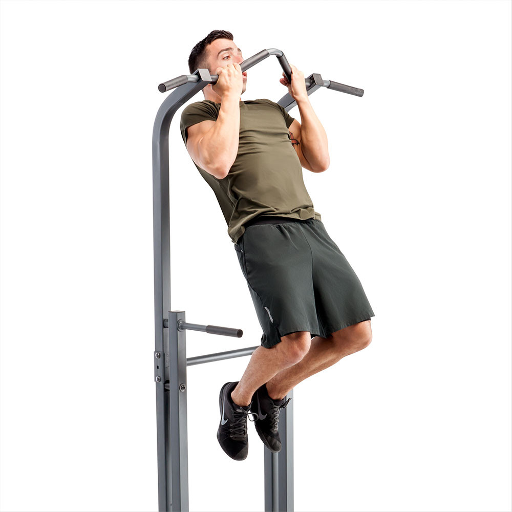The Marcy Power Tower Multi-functional Home Gym Dip Station | TC-5580 includes a multi-grip pull-up bar