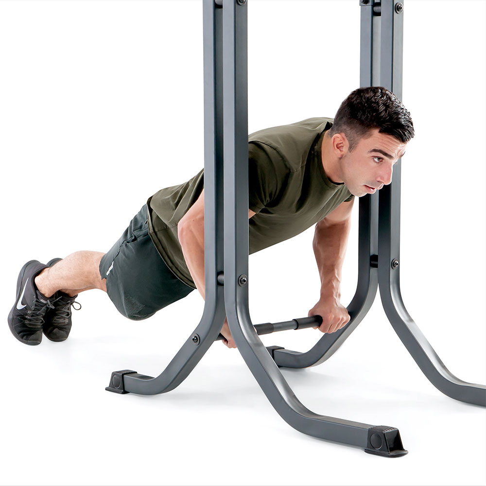 The Marcy Power Tower Multi-functional Home Gym Dip Station | TC-5580 includes a lower bar for push-ups