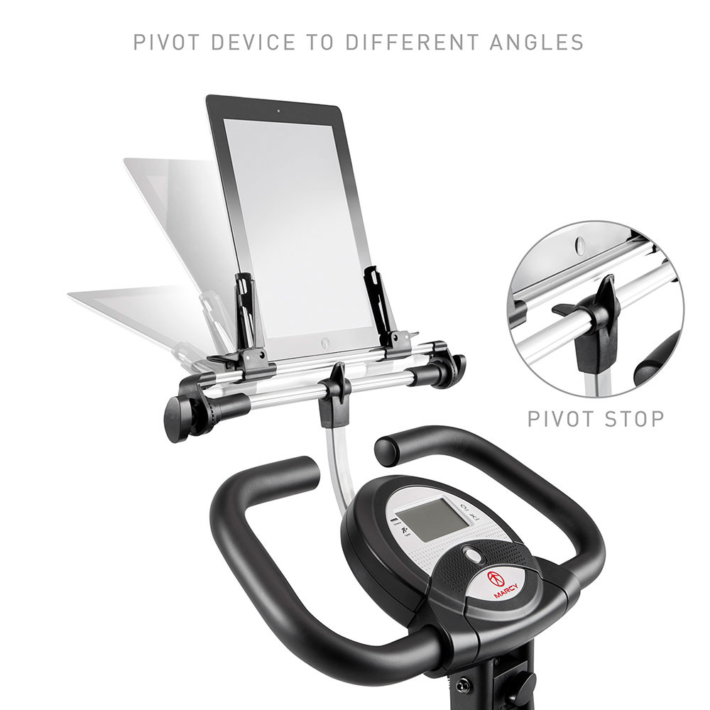 Easily tilt the Foldable Bike Media Holder | Marcy NS-T-Rack  to adjust visibility
