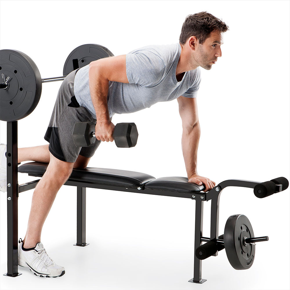 Get creative and try using the bench for even more exercises, such as rows!