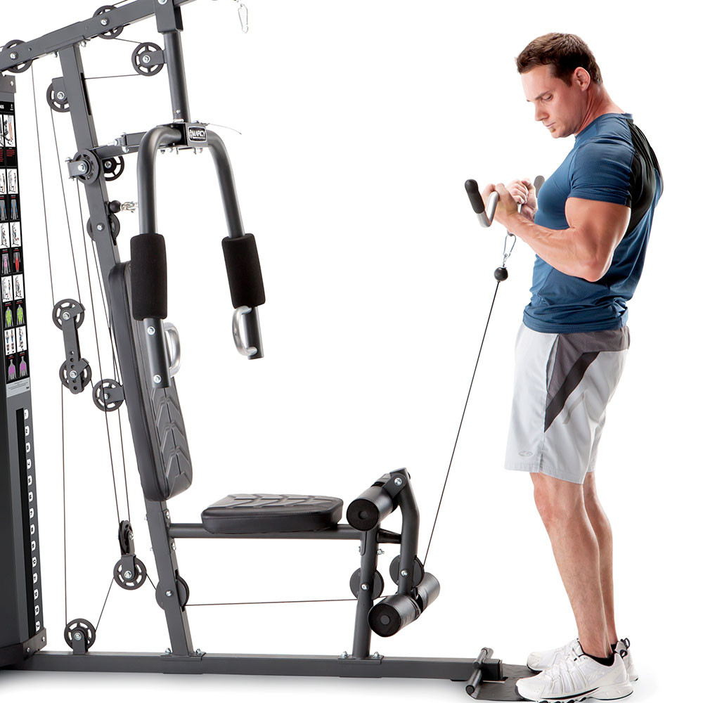The Marcy 150 lb Stack Home Gym MWM-4965 includes a foot plate for better posture