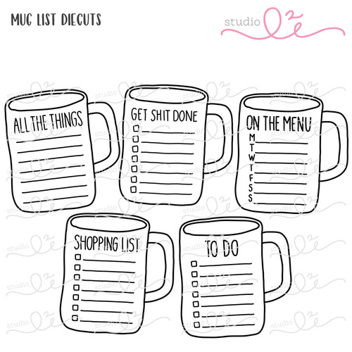Mug List digital die cuts by Studio L2E