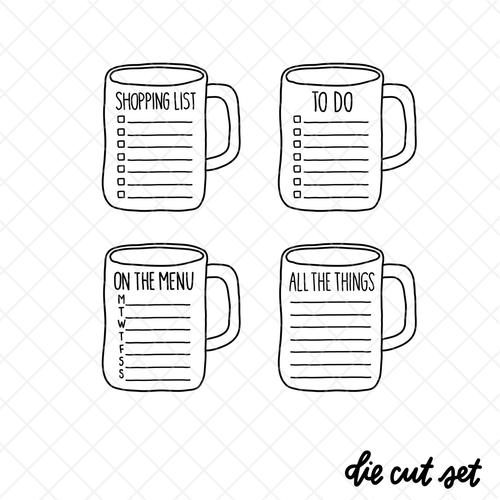 Mug List die cut set