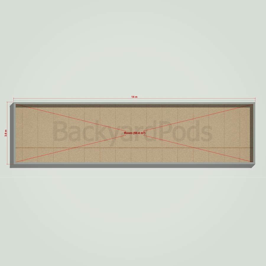 Basic backyard pod kit 3.6m x 14m flat-pack