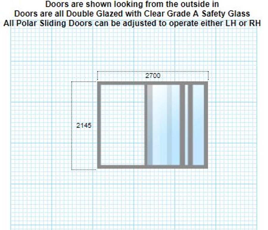 Double-glazed stacker doors 2145mm x 2700mm + lock/keys + reveal + LH/RH/colour options